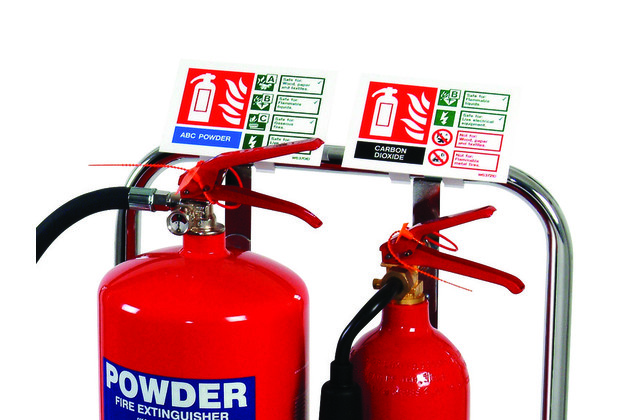 Sign Clip for Tubular Fire Extinguisher Stand