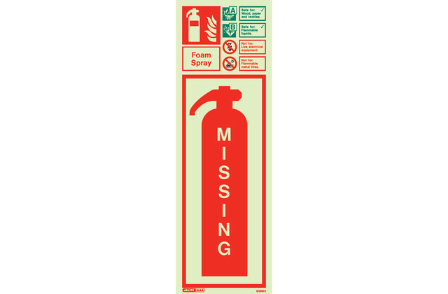 Photoluminescent Missing Fire Extinguisher Sign